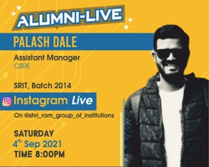 Alumni-Live : Palash Dale (Assistant Manager at CBRE) at 4th Sep 2021 Time : 8:00 PM